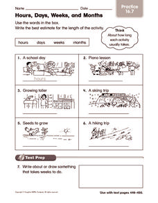 Hours, Days, Weeks, and Months: Practice Worksheet