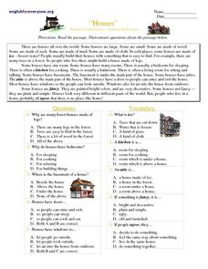 Houses Worksheet