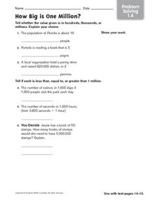 How Big is One Million? Worksheet