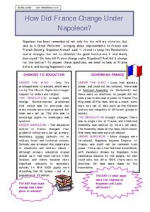 How Did France Change Under Napoleon? Worksheet