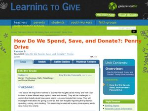 How Do We Spend, Save, and Donate?: Penny Drive Lesson Plan