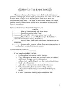How Do You Learn Best? Worksheet