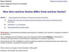 How does Nuclear Fission differ from Nuclear Fusion? Lesson Plan