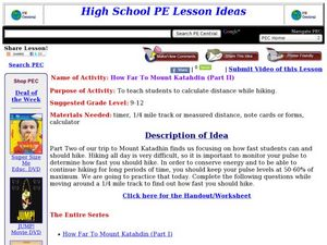 How Far To Mount Katahdin (Part II) Lesson Plan