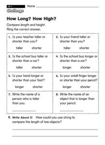 How Long? How High? Worksheet