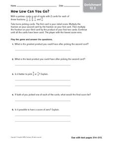 How Low Can You Go? - Enrichment 12.2 Worksheet