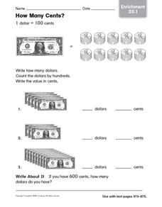 How Many Cents: Enrichment Worksheet