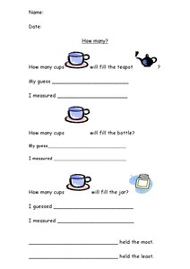 How Many Cups? Worksheet