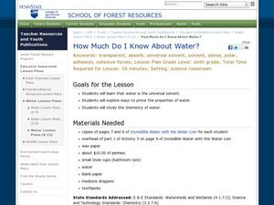 How Much Do I Know About Water? Lesson Plan