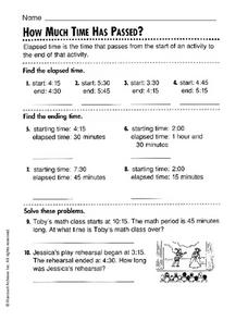 How Much Time Has Passed? Worksheet