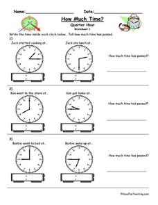 How Much Time? Quarter Hour Worksheet