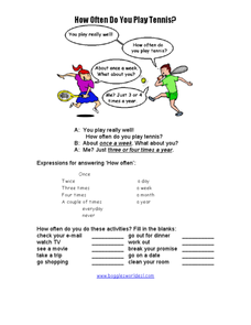 How often do you play tennis? Worksheet