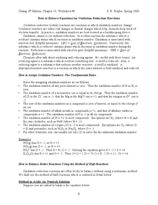 How to Balance Equations for Oxidation-Reduction Reactions Worksheet