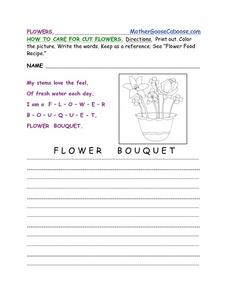 How To Care for Cut Flowers Worksheet
