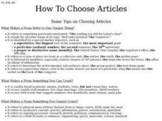 How to Choose Articles Worksheet