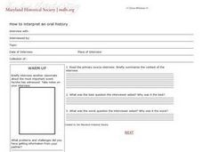 How To Interpret an Oral History Worksheet