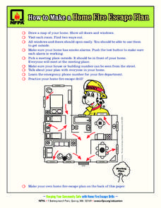 How to make a home fire escape plan 1st 6th grade for Fire escape plan worksheet