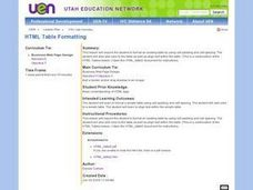 HTML Table Formatting Lesson Plan