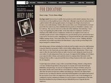 "Huey Long-""Every Man a King"" Lesson Plan"