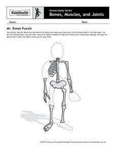 human body series bones muscles and joints mr bones puzzle pre k 2nd grade worksheet. Black Bedroom Furniture Sets. Home Design Ideas