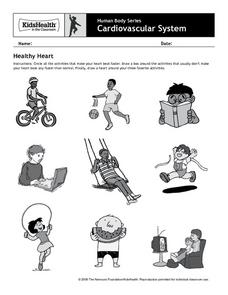 human body series cardiovascular system healthy heart pre k 2nd grade worksheet lesson. Black Bedroom Furniture Sets. Home Design Ideas