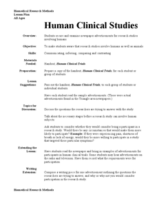Human Clinical Studies Lesson Plan