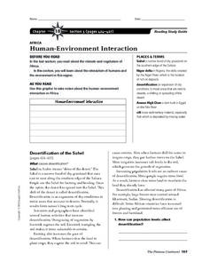 Human-Environment Interaction in Africa Worksheet