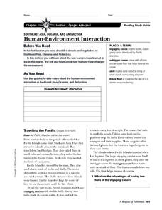Human-Environment Interaction of Southeast Asia, Oceania, And Antarctica Worksheet