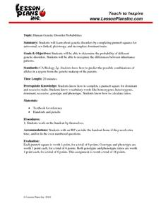 ... Disorder Probabilities 9th - 12th Grade Worksheet | Lesson Planet