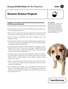 Humane Science Projects Worksheet