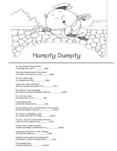 Humpty Dumpty-- Rhyming Words Worksheet