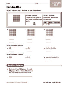 Hundredths: Homework Worksheet