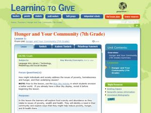 Hunger and Your Community: The Drive Lesson Plan