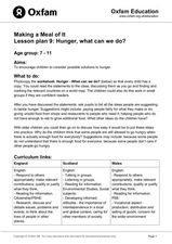 Hunger, What Can We Do? Lesson Plan