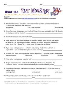 Hunt the Fact Monster #19 Worksheet