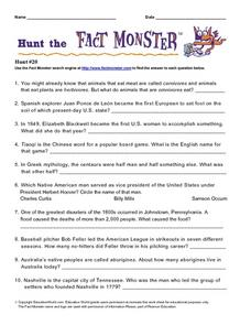 Hunt the Fact Monster #20 Worksheet
