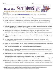 Hunt the Fact Monster #27 Worksheet