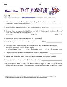 Hunt the Fact Monster #32 Worksheet