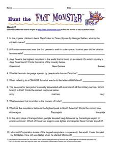 Hunt the Fact Monster #7 Worksheet