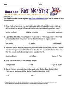 Hunt the Fact Monster: February #1 Worksheet
