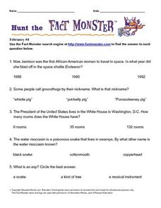 Hunt the Fact Monster: February #4 Worksheet