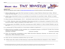 Hunt the Fact Monster: Hunt # 18 Worksheet