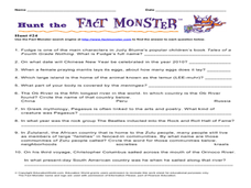 Hunt the Fact Monster Hunt 24 Worksheet