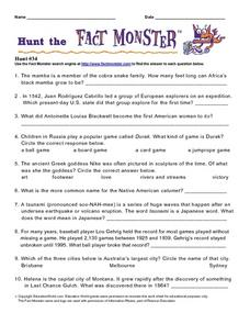 Hunt the Fact Monster Hunt #34 Worksheet