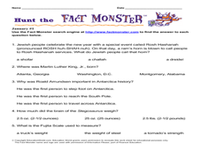 Hunt the Fact Monster January #1 Worksheet