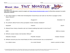 Hunt the Fact Monster Lesson Plan