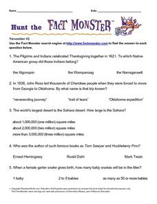 Hunt the Fact Monster (November #2) Worksheet