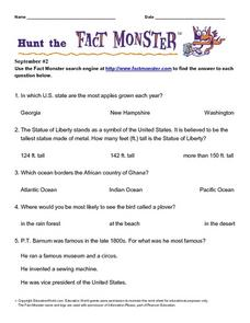 Hunt the Fact Monster September #2 Worksheet