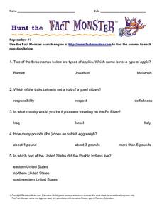 Hunt the Fact Monster September #4 Worksheet