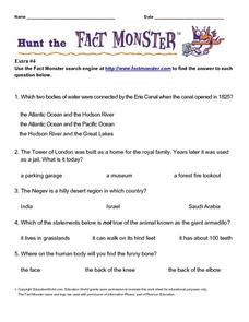 Hunt the Fact Monster Worksheet